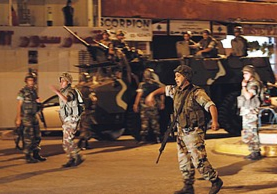 Lebanese soldiers patrol following the firefight.
