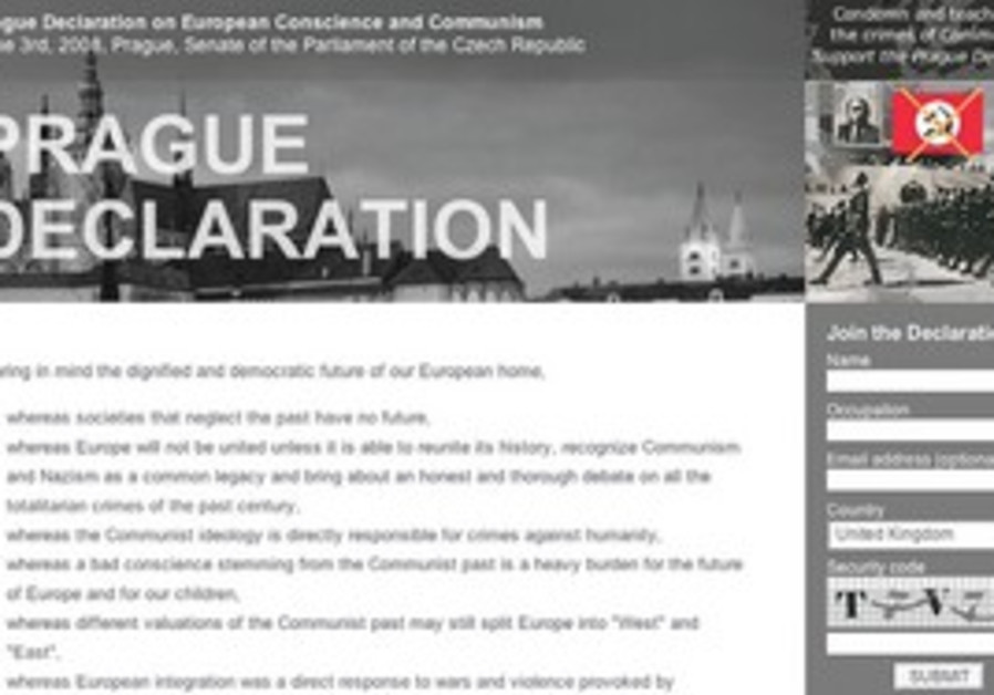 SCREENSHOT FROM the online version of the Prague Declaration.