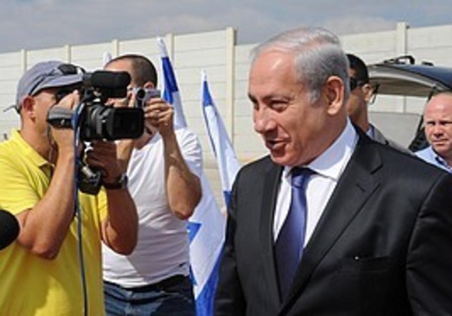 Netanyahu at Ben Gurion Airport prior to take-off