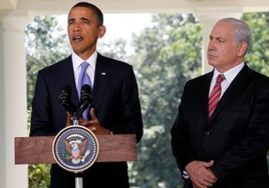 President Barack Obama, accompanied by Israeli Pri