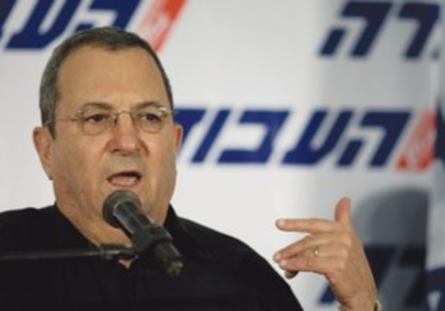 Defense Minister Ehud Barak at Labor gathering.
