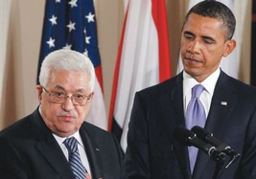 PA PRESIDENT Mahmoud Abbas speaks at the White Hou