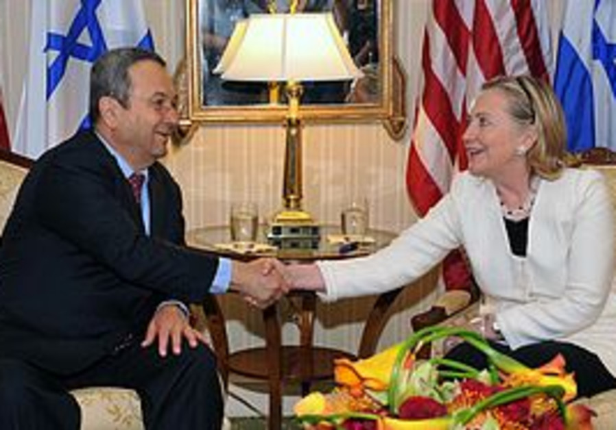 Ehud Barak and Hilary Clinton