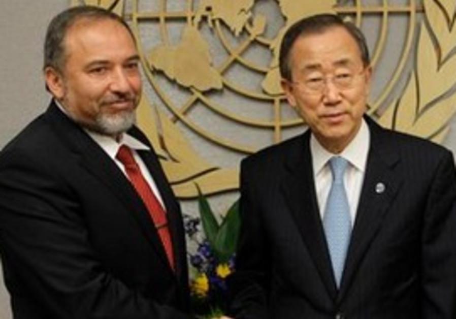 Israeli Foreign Minister Avigdor Lieberman, left,