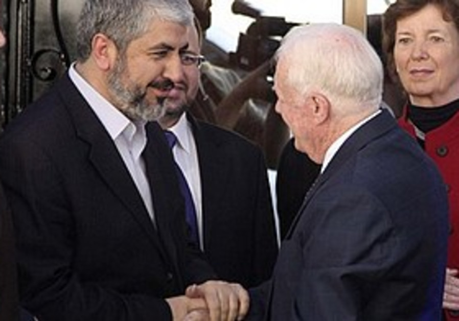 Jimmy Carter and Khaled Mashaal in Syria, Tuesday