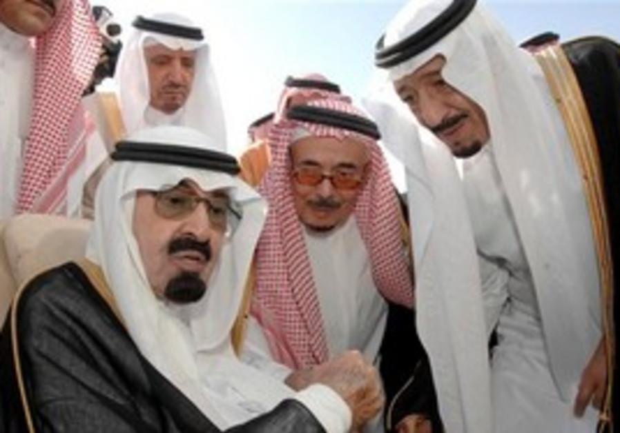 Saudi King Abdullah with Prince Abdel Aziz