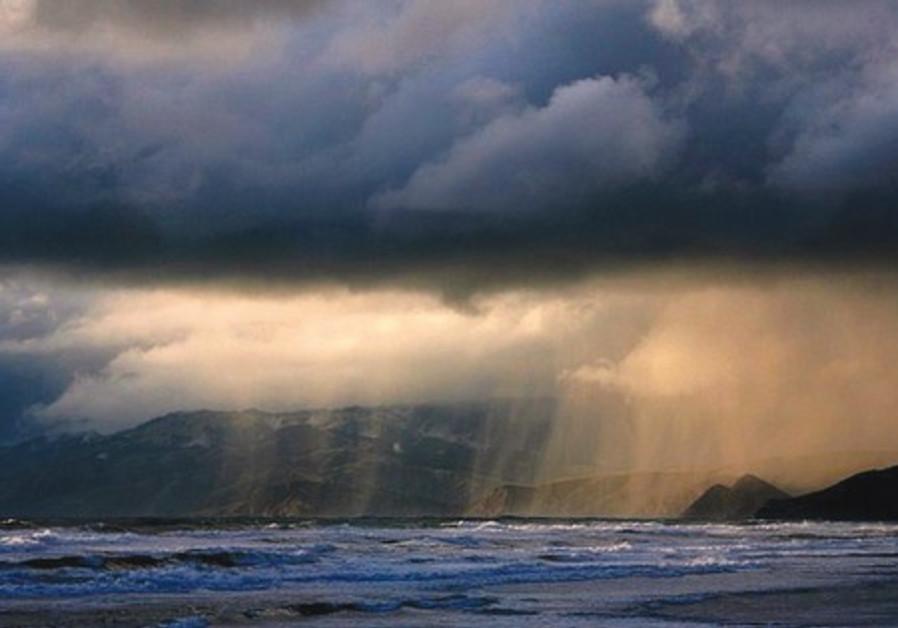 early morning light rain falls in central israel