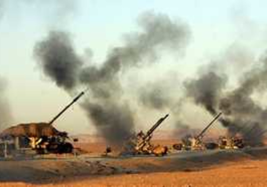 Iranian anti-aircraft guns during an excercise
