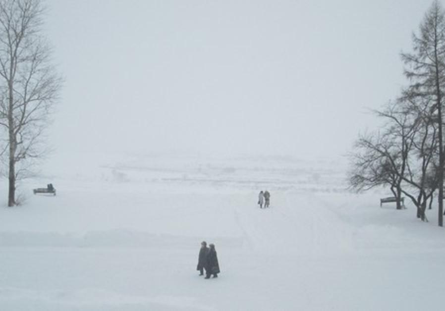 People walking in the snow in Siberia