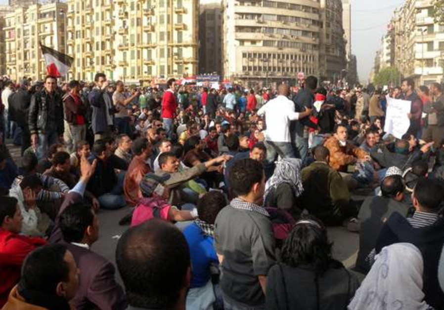 Protesters in Tahrir Square in Cairo