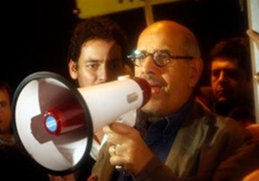 Mohamed ElBaradei speaking in Cairo's Tahrir Sq.