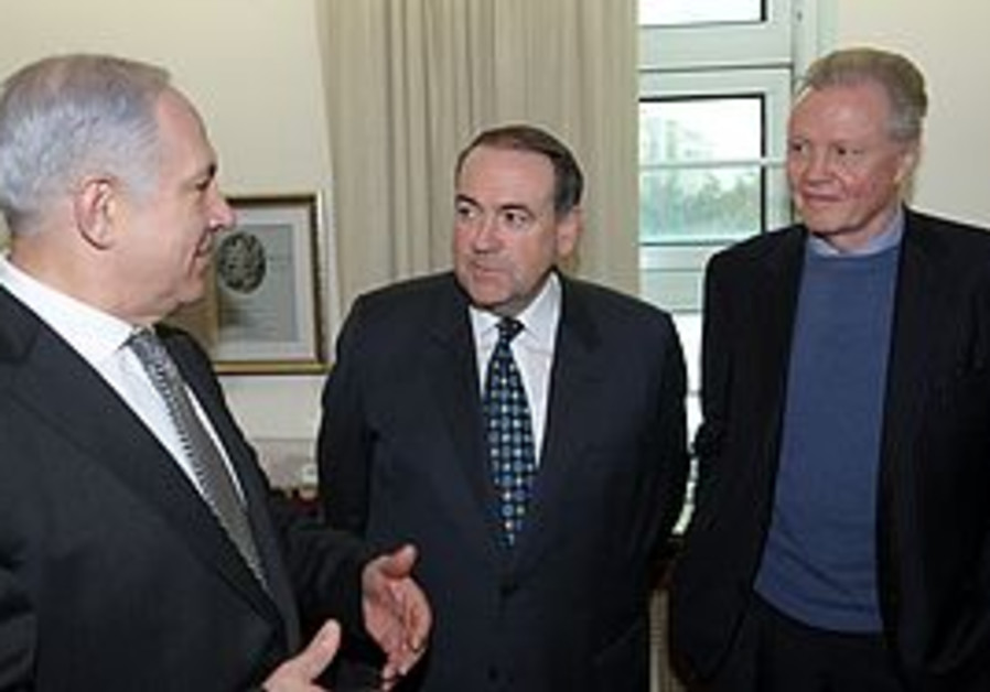 Binyamin Netanyahu, Mike Huckabee and Jon Voight