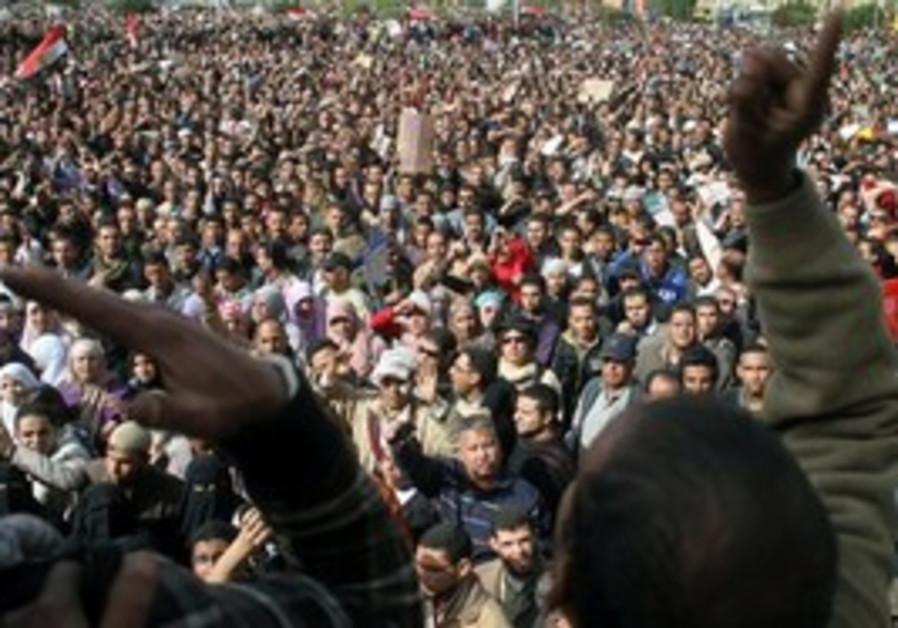Egyptian protesters shout anti-Mubarak slogans