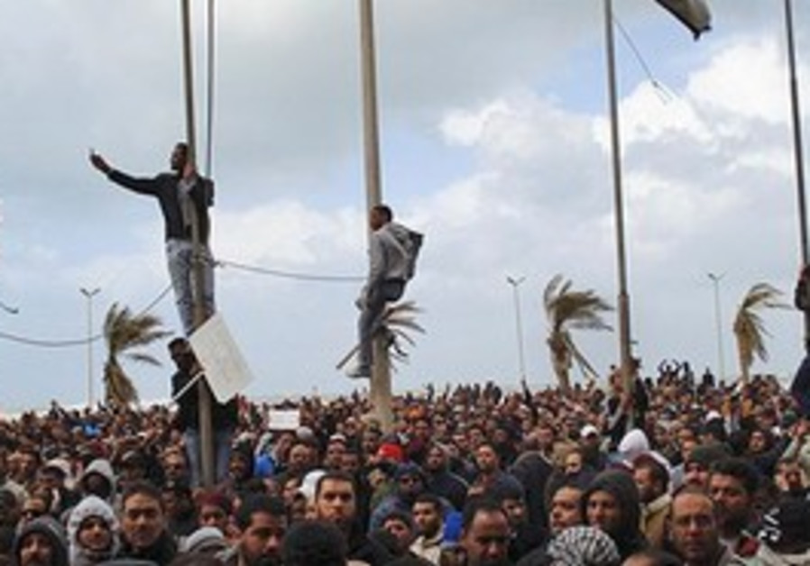 People gather during unrest in Benghazi
