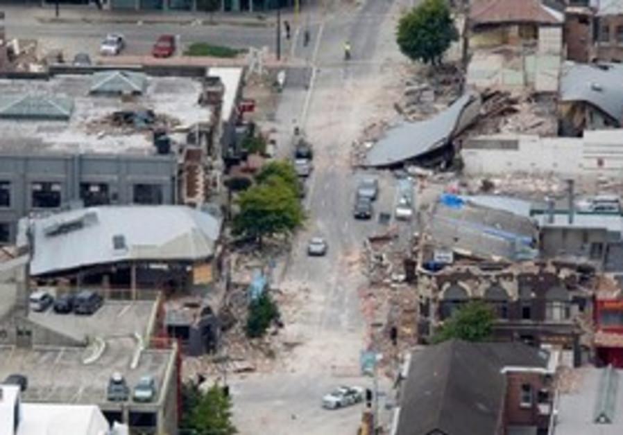 Debris litter central Christchurch, New Zealand.
