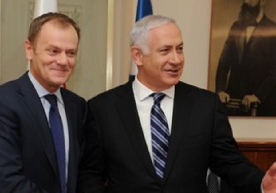 Polish Prime Minister Donald Tusk and Netanyahu.