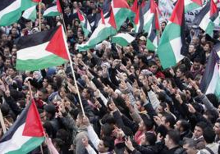 Palestinians wave flags during a protest