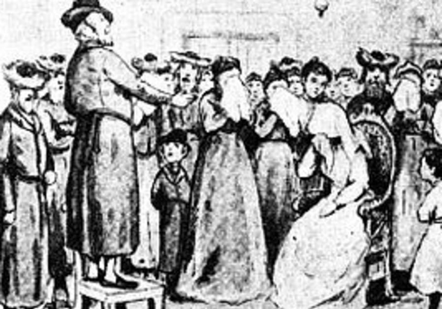 A drawing of a Jewish badkhn
