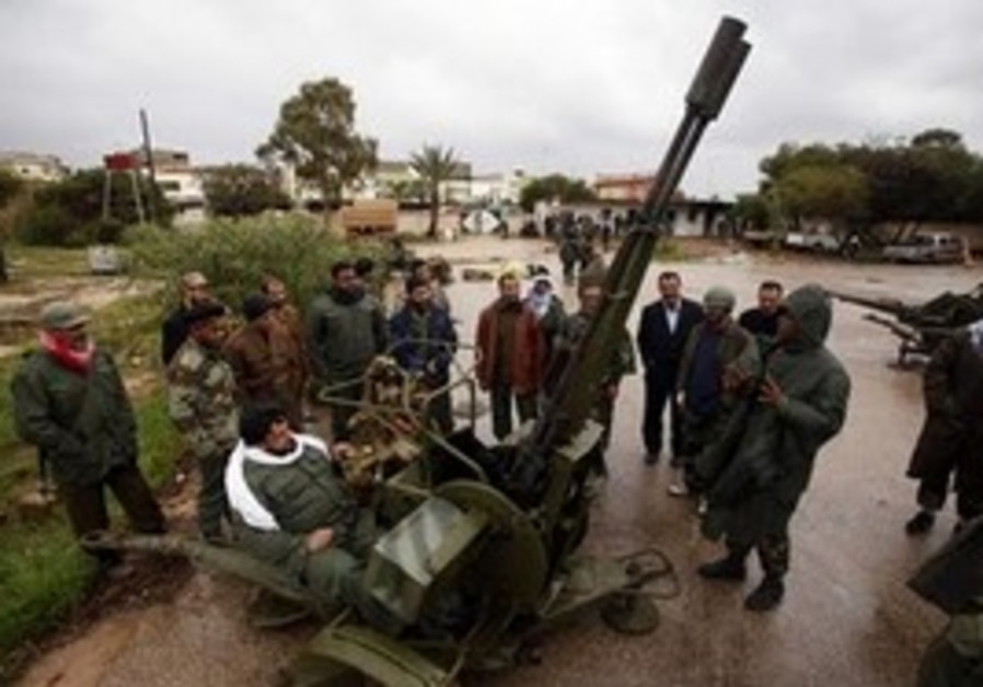 Libyan rebels using anti-aircraft gun