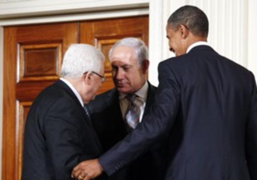 Obama, Netanyahu and Abbas at the White House