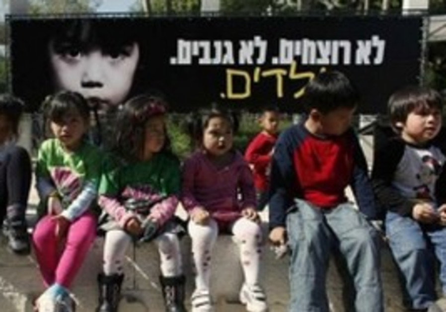 Foreign workers' children protest