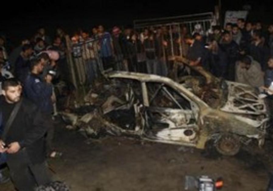 The car hit by an IAF airstrike in Gaza