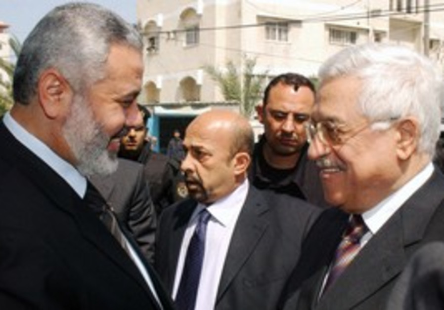 PA President Abbas with Hamas PM Ismail Haniyeh