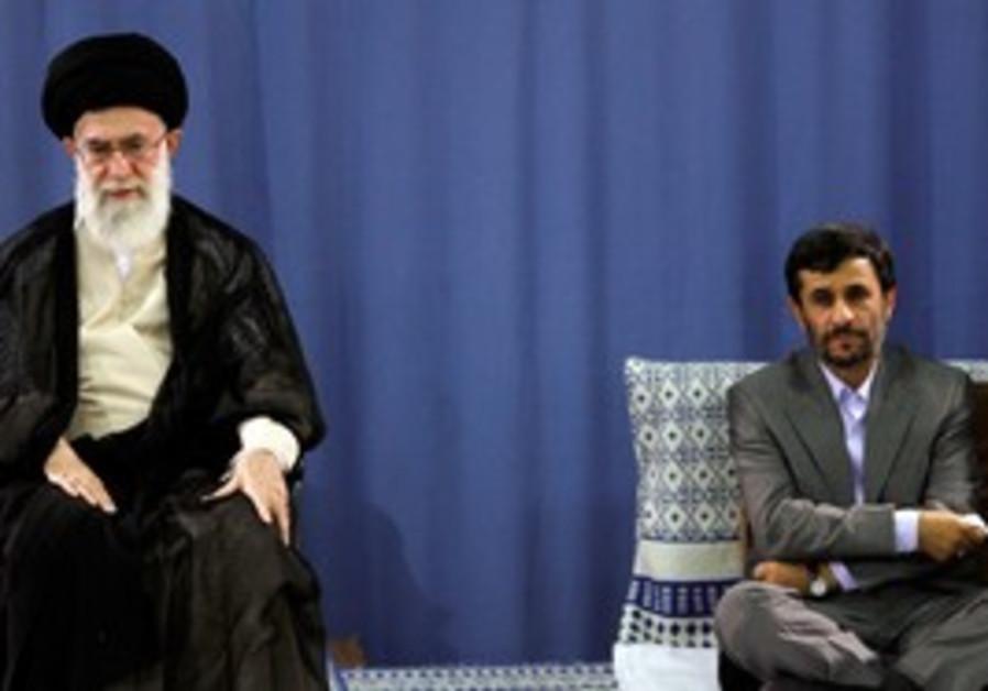Iranian Supreme Leader Khamenei and Ahmadinejad