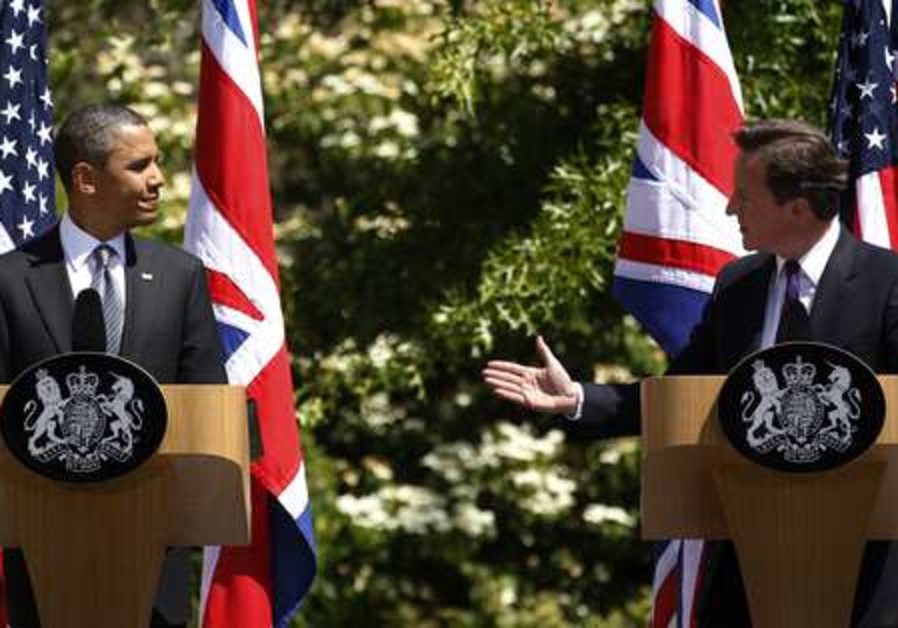 Obama and Cameron at a press conference
