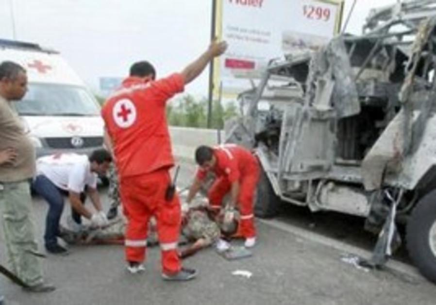 Lebanese Red Cross treat UNIFIL peacekeeper.