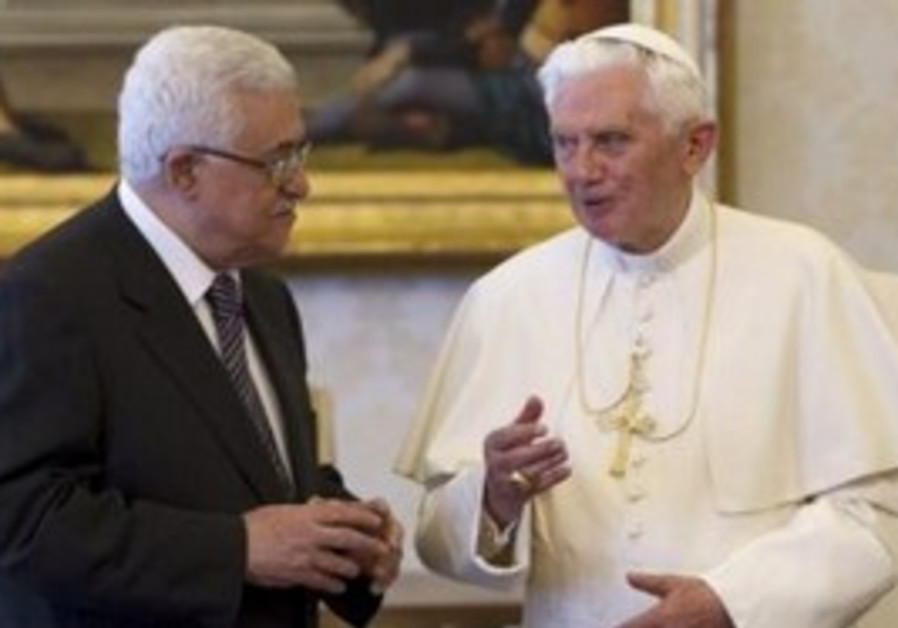 Pope Benedict XVI , PA President Abbas at Vatican