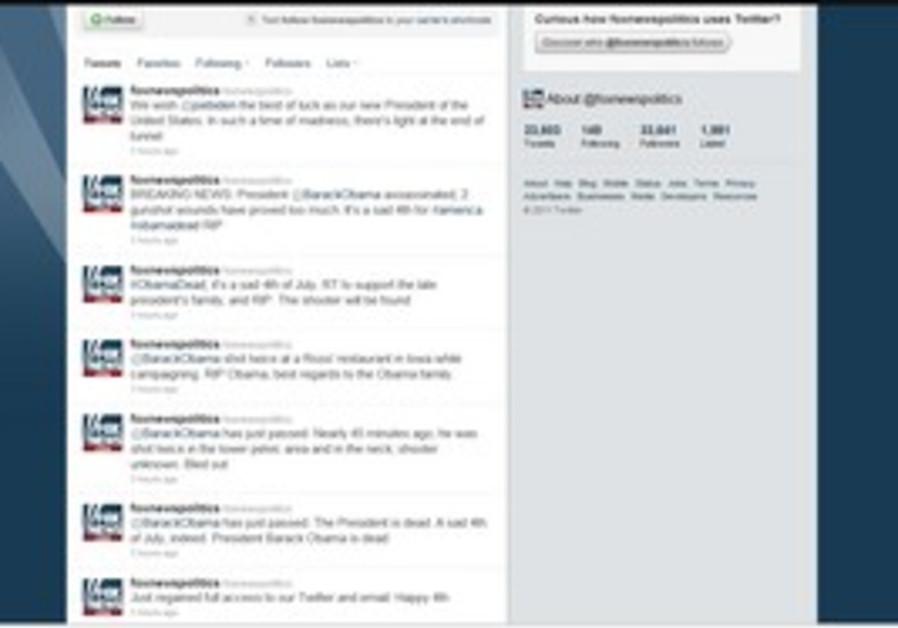 Screen shot of Fox News Twitter saying Obama dead