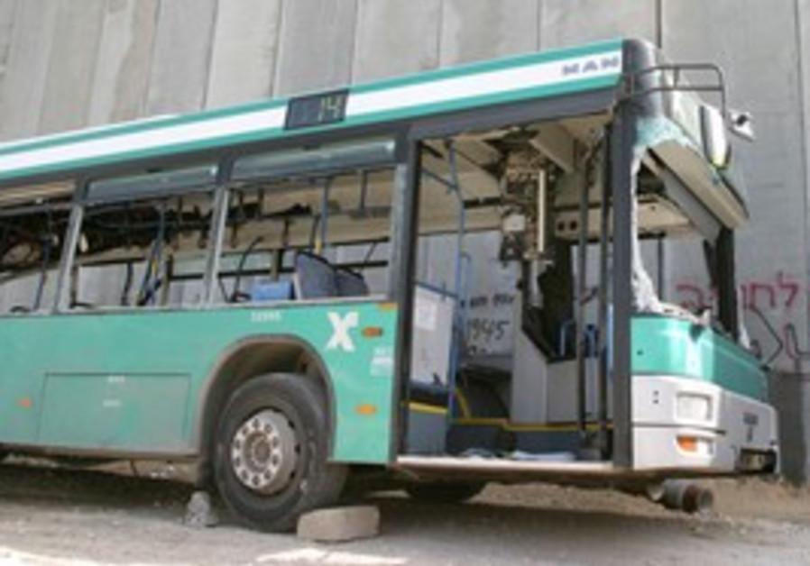Bombed out Egged bus in Jerusalem [illustrative]
