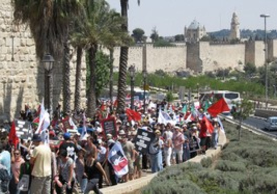 Thousands march in J'lem for Palestinian state