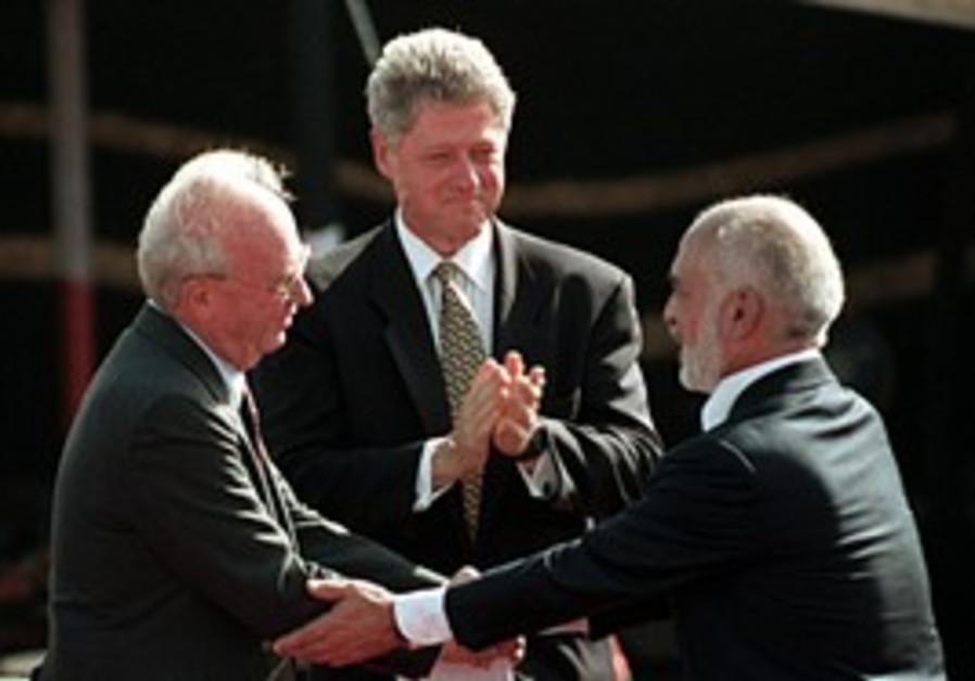 Rabin, Hussein and Clinton at Arava peace deal