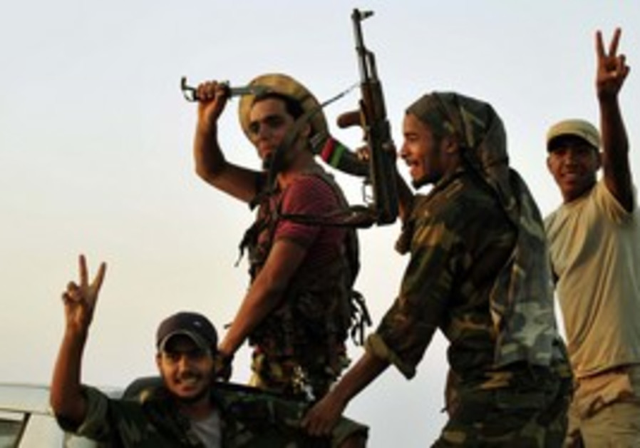 Libyan rebels celebrate.