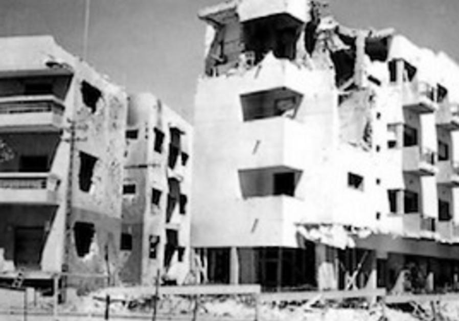 Damage from Italian bombs in Tel Aviv