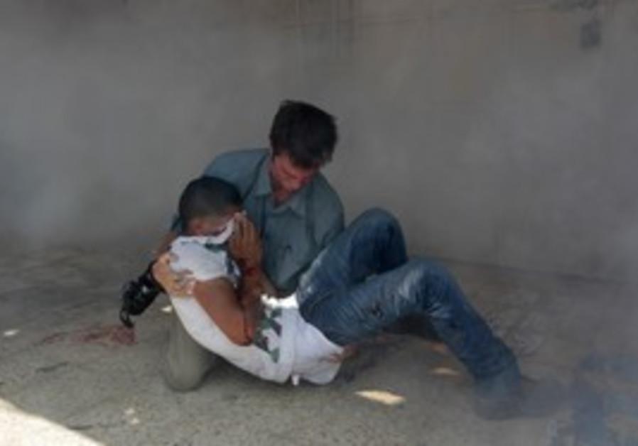 A Palestinian wounded at the Kalandiya checkpoint