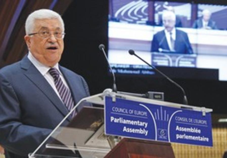 Abbas addresses EU Parliament in Strasbourg