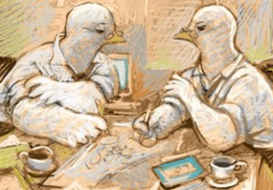 Birds sitting at a desk (illustration).
