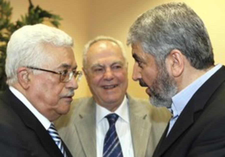 PA President Abbas and Hamas's Mashaal [file]