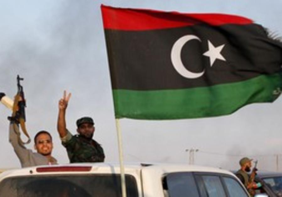 Libyan rebels celebraye in Bani Walid
