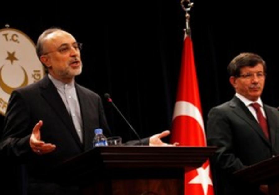 Turkish FM Davutoglu and Iranian counterpart
