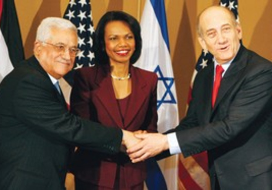 Then-Secretary Rice with Abbas and Olmert