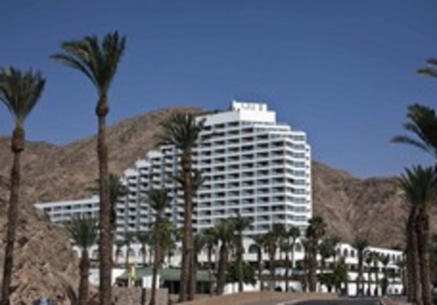 A hotel against a backdrop of mountains in Eilat