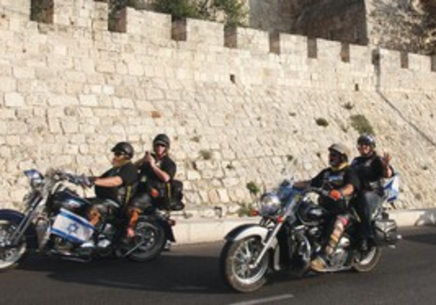 Harley Davidson motorcycle riders in Jerusalem