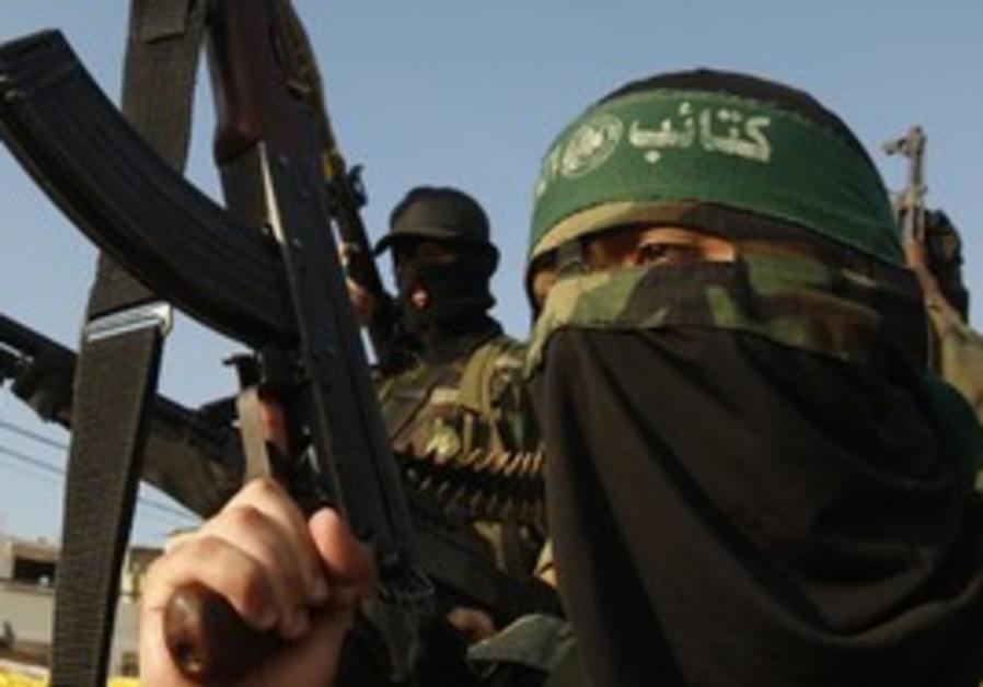 A masked Hamas terrorist.