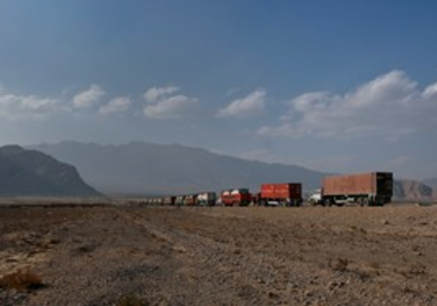 Trucks carrying NATO supplies to Afghanistan