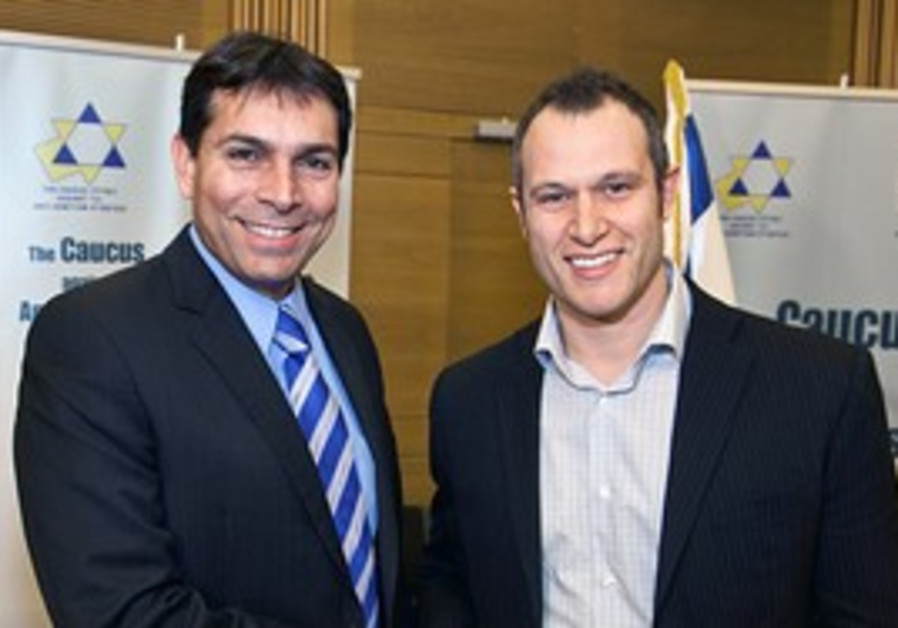Danny Danon and activist Calev Myers