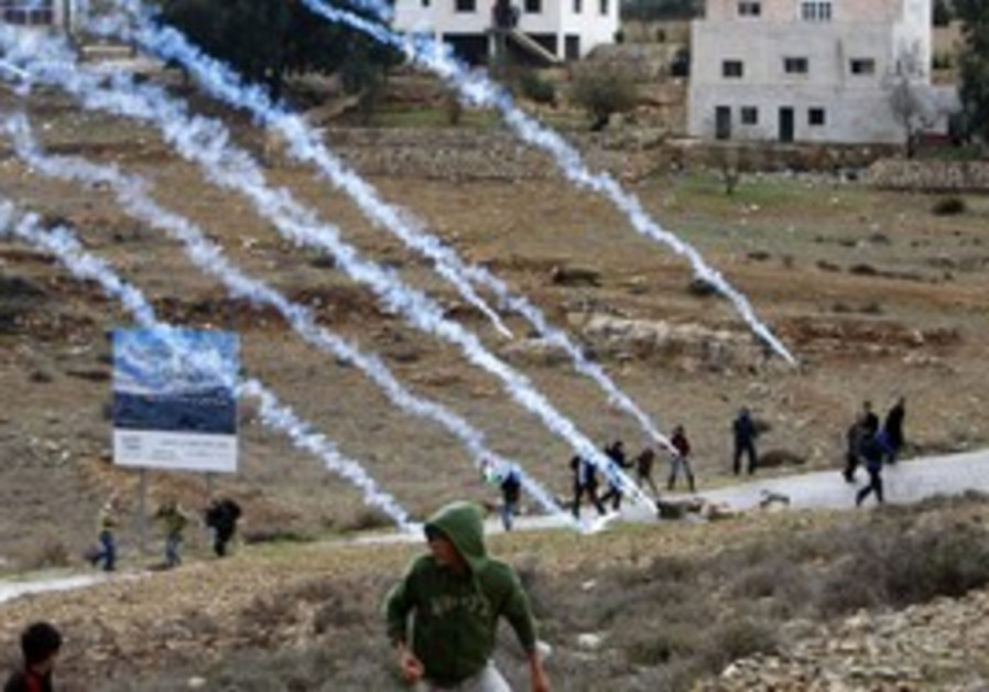 Nabi Saleh Palestinian protest, gas canisters